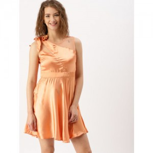 DressBerry Women Peach-Coloured Solid Fit and Flare Dress