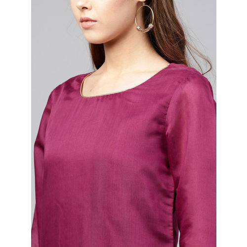 Juniper Women Burgundy Embroidered Chanderi Silk Straight Kurta