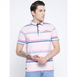 Fort Collins Men Pink & Blue Striped Polo Collar T-shirt