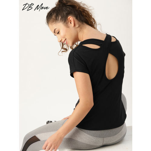 DressBerry Move Women Black Solid Styled Back Top