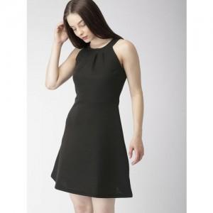 Mast & Harbour Women Black Striped A-Line Dress