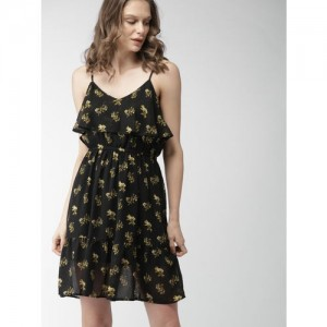 Mast & Harbour Women Black Printed Fit and Flare Dress