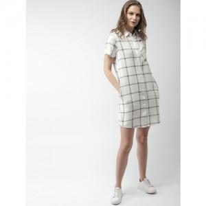 Mast & Harbour Women White & Black Checked Shirt Dress