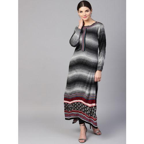 fcc762b1bfe Buy Shree Women Black   Grey Printed Straight Winter Kurta online ...