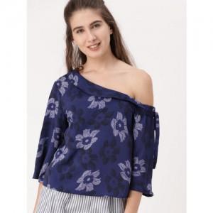 DressBerry Women Blue Printed One Shoulder A-Line Top