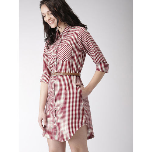 Mast & Harbour Women Maroon Checked Shirt Dress