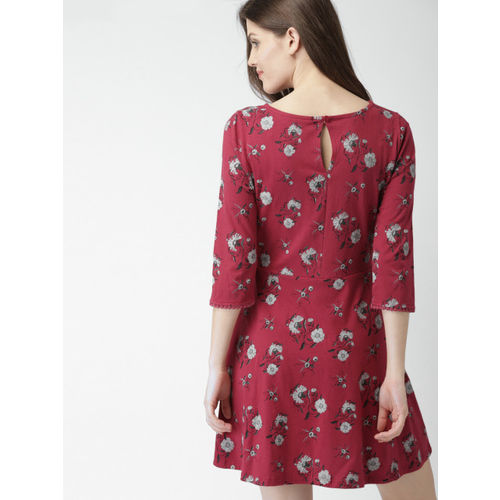Mast & Harbour Women Maroon Printed A-Line Dress