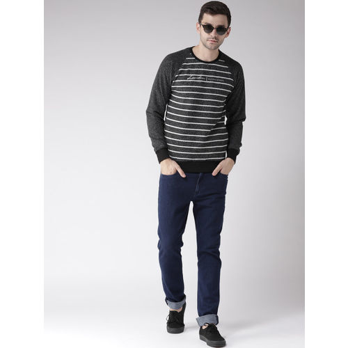 Fort Collins Men Black & White Striped Sweatshirt