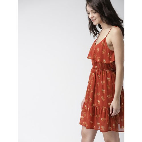 Mast & Harbour Women Rust Orange Printed Fit and Flare Dress