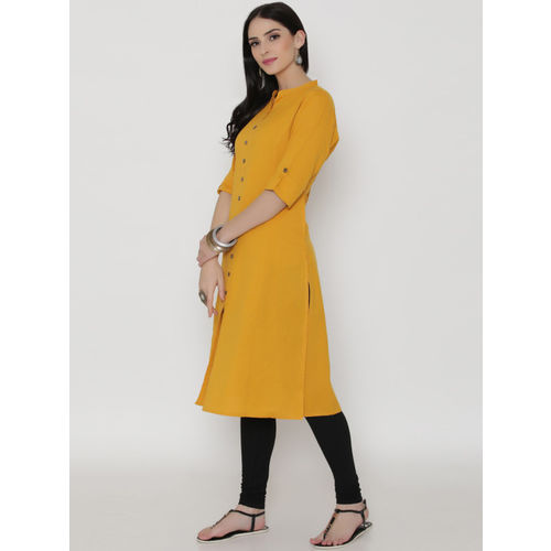 Shree Mustard Cotton Solid Straight Kurta