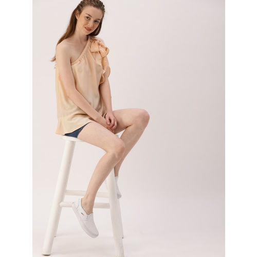DressBerry Women Peach-Coloured One-Shoulder Top