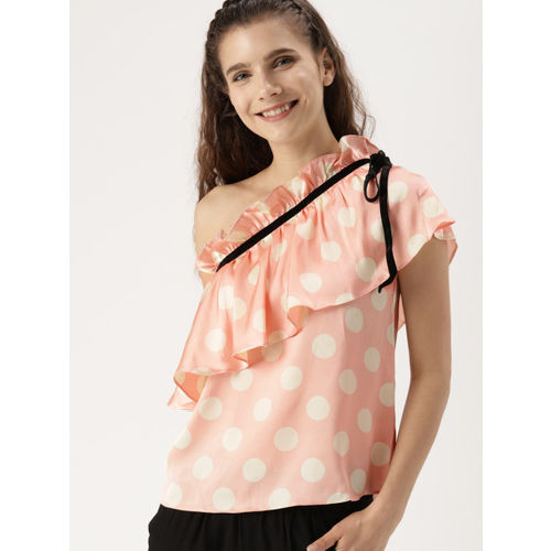 9ffa02682e9 ... Top; DressBerry Women Peach-Coloured & Off-White Polka Dot Print One- Shoulder ...
