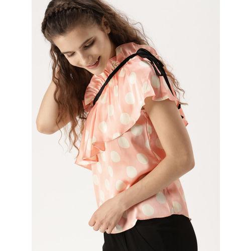 DressBerry Women Peach-Coloured & Off-White Polka Dot Print One-Shoulder Top