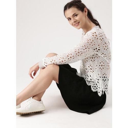 DressBerry Women White Self Design Semi-Sheer Top