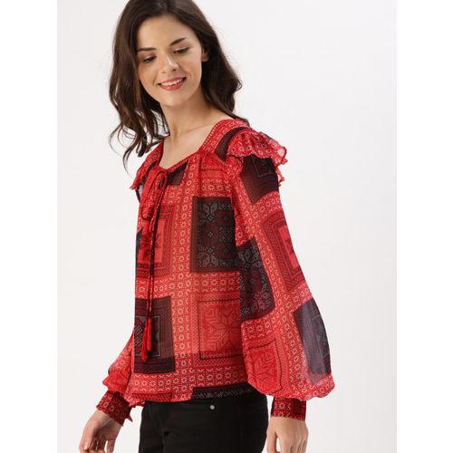 DressBerry Women Red Printed Semi-Sheer Top