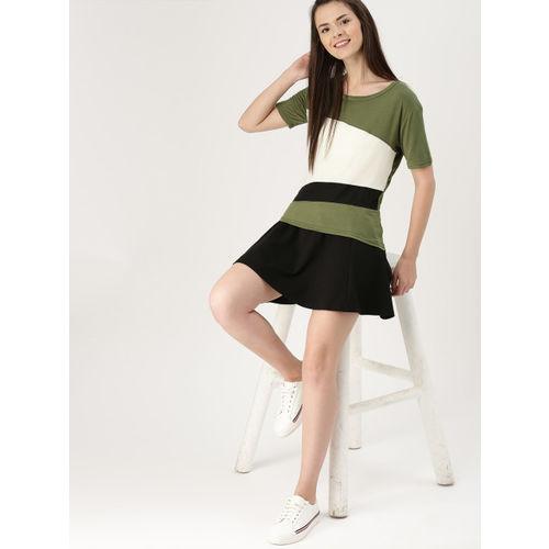 DressBerry Women Olive Green Colourblocked Top