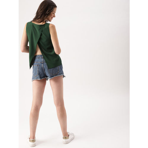 DressBerry Women Green Solid Styled Back Top