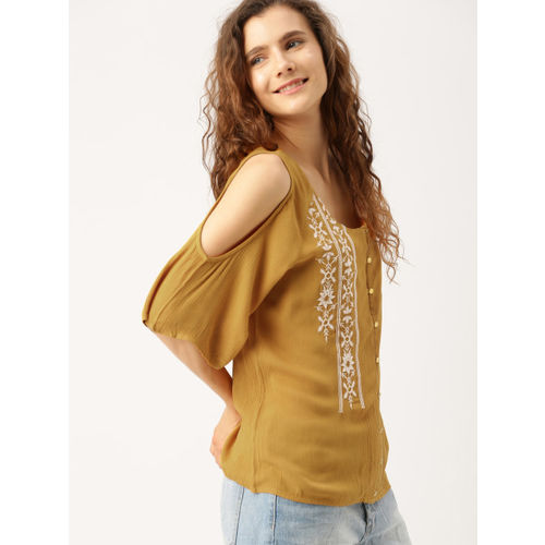 DressBerry Women Mustard Solid Top