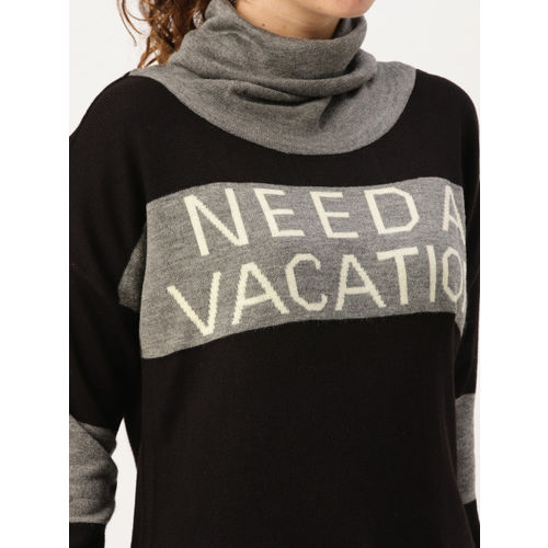 DressBerry Women Black & Grey Self Design Pullover