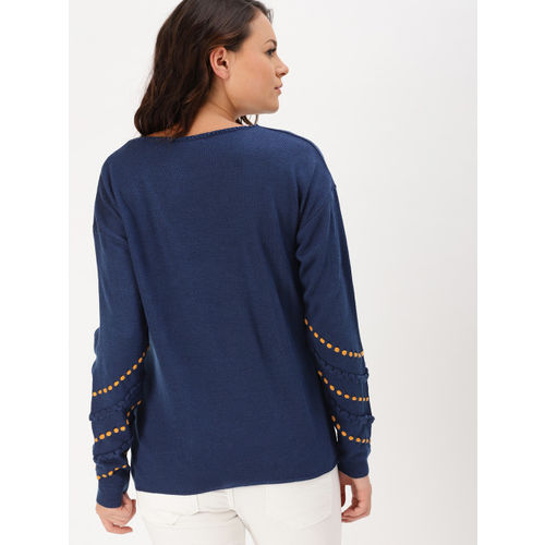 DressBerry Women Navy Blue Self Design Pullover