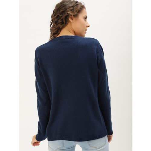 DressBerry Women Navy Blue Solid Embroided Pullover