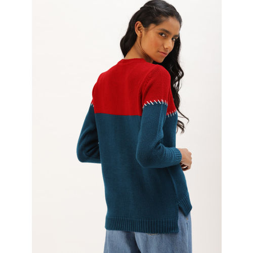 DressBerry Women Navy Blue & Red Embroidered Pullover Sweater