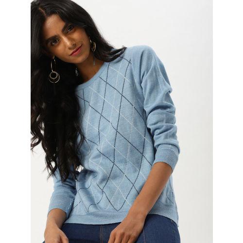 DressBerry Women Blue Self Design Pullover