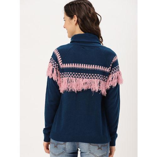 DressBerry Women Blue & Pink Self Design Pullover