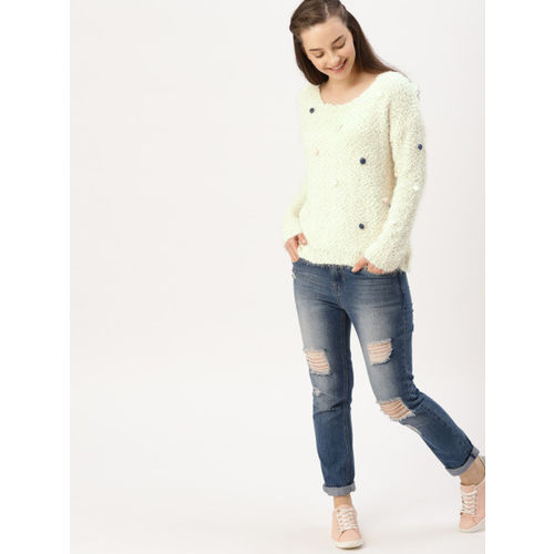 DressBerry Women Off-White Solid Pullover