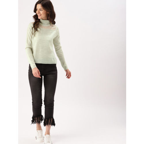 DressBerry Women Off-White & Silver-Toned Solid Pullover