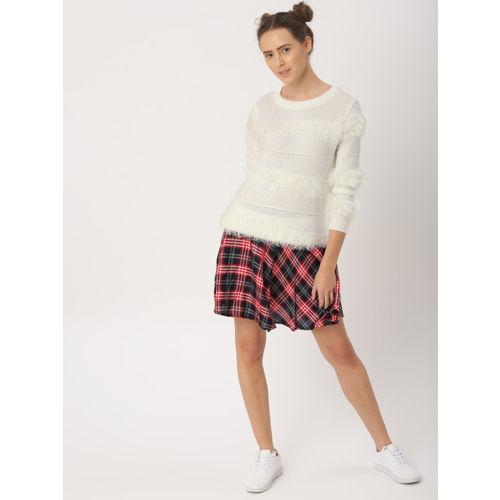 DressBerry Women White Self-Design Pullover