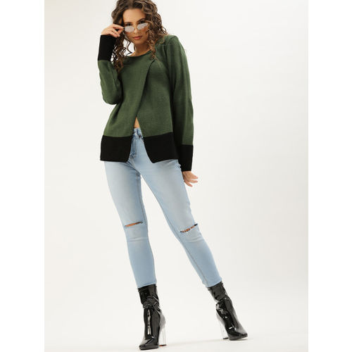 DressBerry Women Olive Green & Black Colourblocked Front-Open Sweater