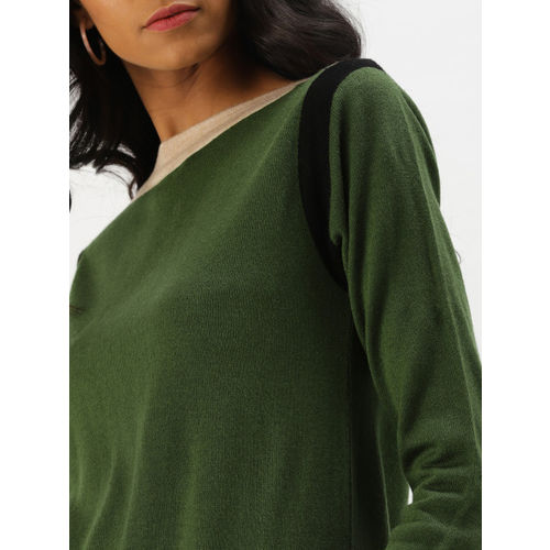 DressBerry Women Olive Green Solid Pullover Sweater