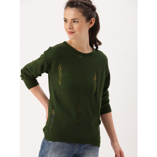 DressBerry Women Olive Green Solid Pullover