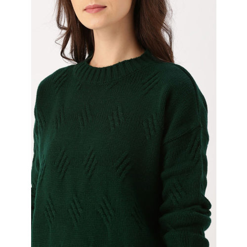 DressBerry Green Self Design Pullover