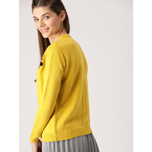 DressBerry Women Mustard Yellow & Black Self Design Cardigan