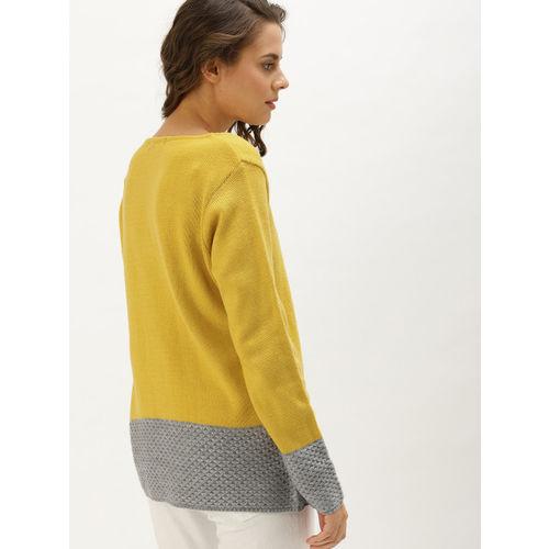 DressBerry Women Mustard Yellow & Grey Colourblocked Front-Open Sweater