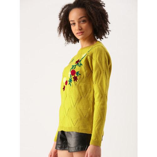 DressBerry Women Mustard Yellow Self Design Pullover