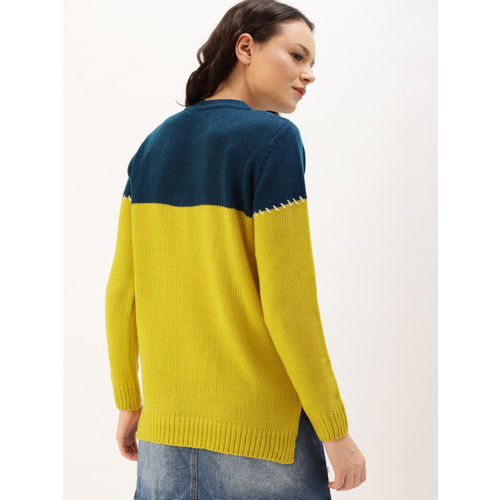 DressBerry Women Mustard Yellow & Navy Blue Embroidered Pullover