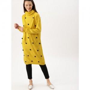 DressBerry Women Mustard Yellow Solid Longline Pom-Pom Sweater