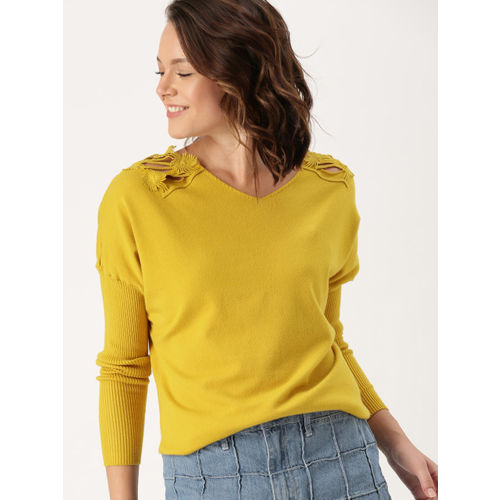 DressBerry Women Mustard Yellow Solid Pullover