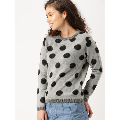 DressBerry Women Grey Self Design Pullover
