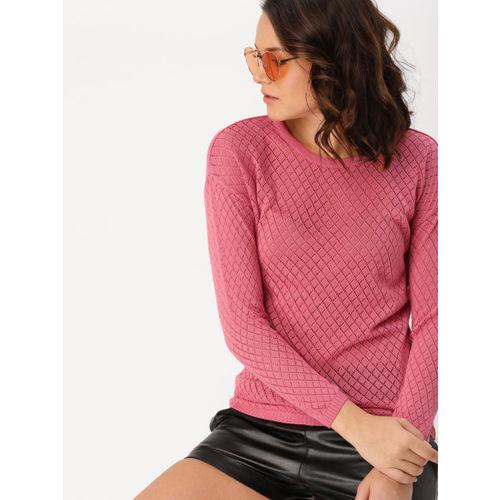 e72b4ed61 Buy DressBerry Women Pink Self Design Pullover online