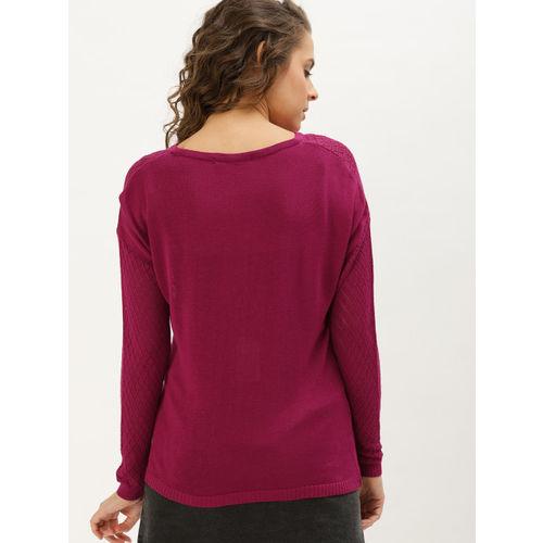 DressBerry Women Pink Self Design Pullover