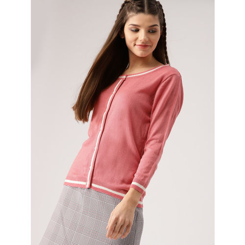 DressBerry Women Pink Solid Cardigan
