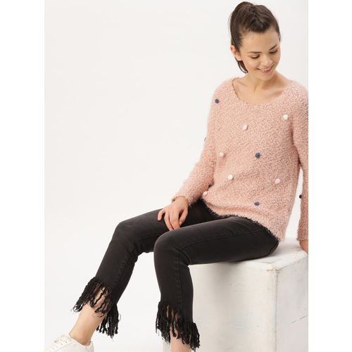 DressBerry Women Pink Solid Pullover