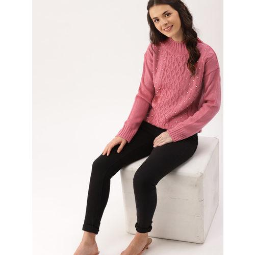 DressBerry Women Pink Embellished Pullover