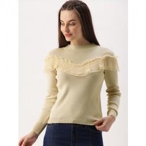 DressBerry Women Beige Solid Pullover