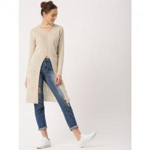 DressBerry Women Beige Self Design Longline Pullover