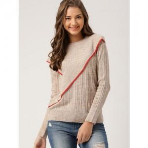 DressBerry Women Beige Pullover Sweater